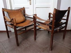 Mid century Safari székek, lábtartóval Arne Norell style