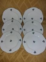 Zsolnay barokk és zöld lüszteres 6 db desszertes tányérok