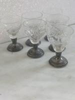 Art deco 6 db  ezüst pohár+csiszolt  kristály