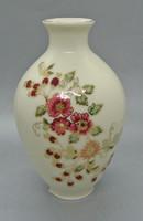 B10 Zsolnay virágmintás vajszínű 14 cm-es váza - 10077/067 - csodaszép gyűjtői darab!