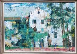 Sarkantyú Simon  (1921-1989) /  Kastély c. Képcsarnokos Festménye Eredeti Garanciával