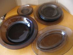FRANCE füstös barna tányér 5+5