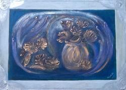 Pillangóvirágok. 50x70 cm-es vászonkép,porcelánmasszás máz, Károlyfi Zsófia Prim-djas alkotó műve.