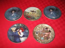 5 db,dísztányér, Hummel Goebel,3 db Gusztáv Klimt, és 1db Renoir, 1 db Monet  tányér, 8 cm