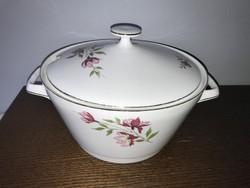 Csodaszép virág mintás Bavaria porcelán leveses tál nagyobb méretű
