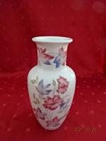 Kőbányai porcelán váza, rózsaszín virággal, magassága 20 cm.