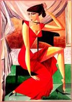 Való Ibolya, Álmodozó hölgy vörös ruhában c. KUBISTA AKT festménye