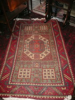Antik Békésszentandrási, kaukázusi mintás kézi csom.gyapjú szőnyeg nagyon szép állapotban kb.1940-50