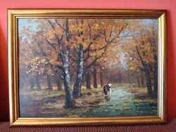 Mesterházy Dénes patakban mosó asszony olajfestmény