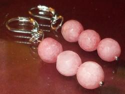 Rózsaszín Jade ásvány Gyöngy Fülbevaló