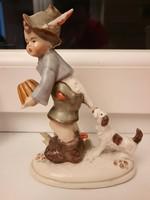 RITKA!  Fiú kuglóffal és kutyával GERMANY porcelán