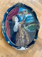 Gyümölcsöt tartó hölgy gobelin kép