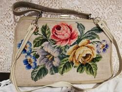 Eladó régi gobelin táska vajszínű bőrrel, kézi, és válltáska!