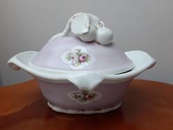 Barokk stílusú vaj/cukor tartó rózsás cseresznye fogantyúval antik kézzel festett rózsaszín porcelán