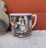 Gyönyörű Ritka Gyűjtői Iris porcelán bögre falusi paraszti dekoráció