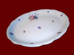 Antik Zsolnay porcelán pajzspecsétes vadvirágos ovális pecsenyés tál