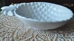 Kerámia kínáló, 26 x 18 cm, asztalközép, gyümölcstál, hibátlan, pompás fehér színben