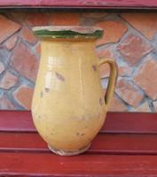 23 cm magas régi kerámia szilke köcsög korsó nosztalgia, paraszti dekoráció 3