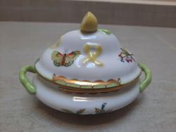 Herendi Viktória mintás porcelán 2 füles citromfogós bonbonier