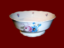 Antik Zsolnay porcelán pajzspecsétes vadvirágos talpas pörköltes tál