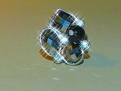 Fazettált Onix cirkónia köves kézműves Gyűrű 6-os