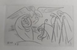 BORSOS MIKLÓS miniatűr rézkarc, 1979 - bibliai jelenet, Mária és Jézus, angyal, vallásos