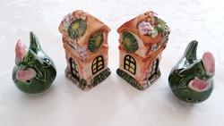 Régi kerámia sószóró vintage tyúk és házikó alakú régi borsszóró 4 db