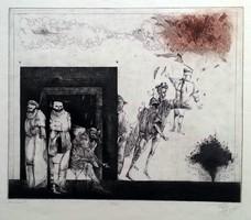 Nagy Gábor - Karnevál 27 x 33 cm színezett rézkarc 1985