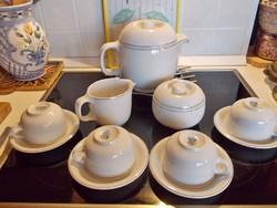Alföldi porcelán: Saturnus retro teás készlet, limitált platina csíkos diszitéssel, 4 személyre