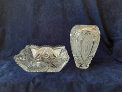 Antik ólomkristály váza és tál ritkaság együtt eladó