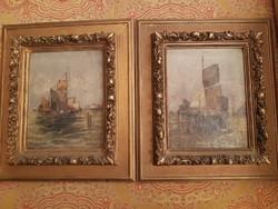 Holland kikötő antik festmények párban