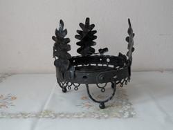Régebbi fekete fém virágalátét/ virágtartó ( Makkos )