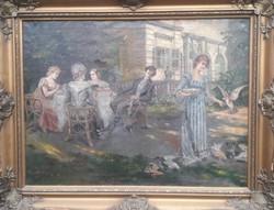 SZERELMES PILLANTÁS (nagyméretű olajfestmény, 73x93) társasági jelenet, életkép, XIX. század 1800-as