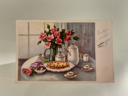 Régi rajzos rózsás levelezőlap