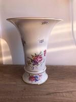 Hollóházi porcelán hajnalka mintás tölcsér váza 25 cm magas