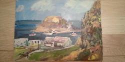 Olajfestmény Görögország Monemvasia tájkép, festmény