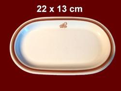 Barna csíkos alföldi porcelán ovális kínáló tálka