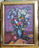 """Vén Emil """" Virág csendélet""""  olaj - farost festmény"""