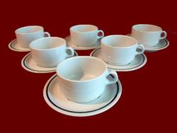 6 db fehér alföldi porcelán bögre, csésze, kék csíkos tálkával