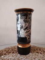 Szász Endre Hollóházi Porcelán váza aranyozva, kiváló állapotban eladó