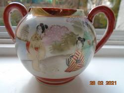 Kutani kézzel festett,aranykontúrozott gésa,tájkép és virágos fa mintákkal cukortartó