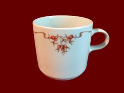 Csipkebogyó mintás alföldi porcelán bögre, csésze
