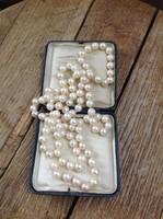 Hosszú valódi igazgyöngy nyaklánc - gyöngysor egyforma nagobb gyöngyökből