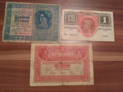 1 Korona 1916, 2 Korona 1917, 1000 Korona 1922