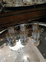 Ezüst szecessziós kávés pohár készlet, üveg betéttel.