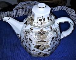Gyönyörű barna fehér keleti mintás duci porcelán teás kanna tetővel eladó