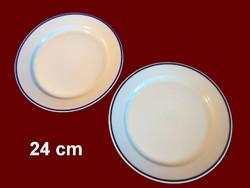 2 db kék csíkos alföldi porcelán nagy lapos tányér