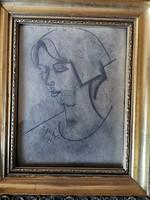 S.H jelzéssel - Női portré grafika