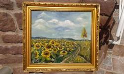 """Jelzett olaj festmény, napraforgó, fa 40,5x46 cm, tájkép, """"munkácsy"""" aranyos képkeret"""