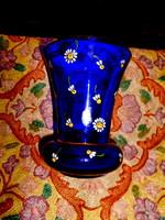 Parádi antik üveg váza  -zománc festett virág díszítéssel